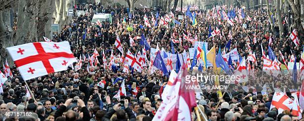 Supporters of former Georgia's president Mikhail Saakashvili's United National Movement take part in a rally in Georgian capital Tbilisi on March 21...