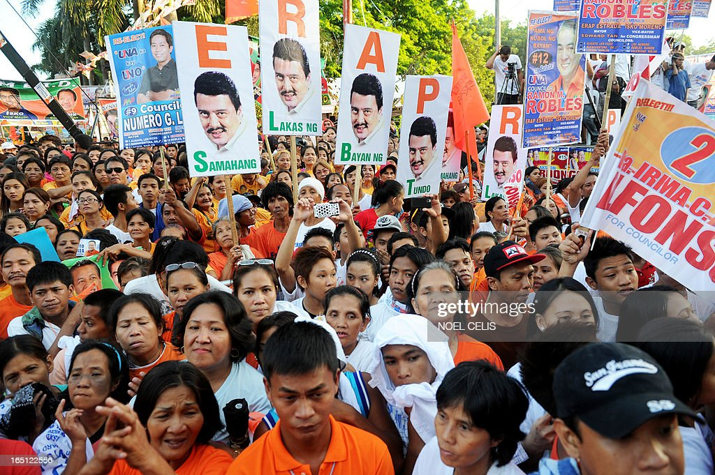 Supporters of former Philippine president and candidate for mayor of Manila Joseph Estrada gather to show their support during his campaign launch on March 31, 2013 in Manila. In typically colourful fashion, graft-tainted former Philippine president Joseph Estrada launched his campaign for mayor of Manila Sunday in what he described as his 'last hurrah' in politics. The one-time movie actor, who turns 76 on April 19, said he wanted to end his political career as the mayor of a city where he was born and in whose sprawling slums he remains hugely popular.