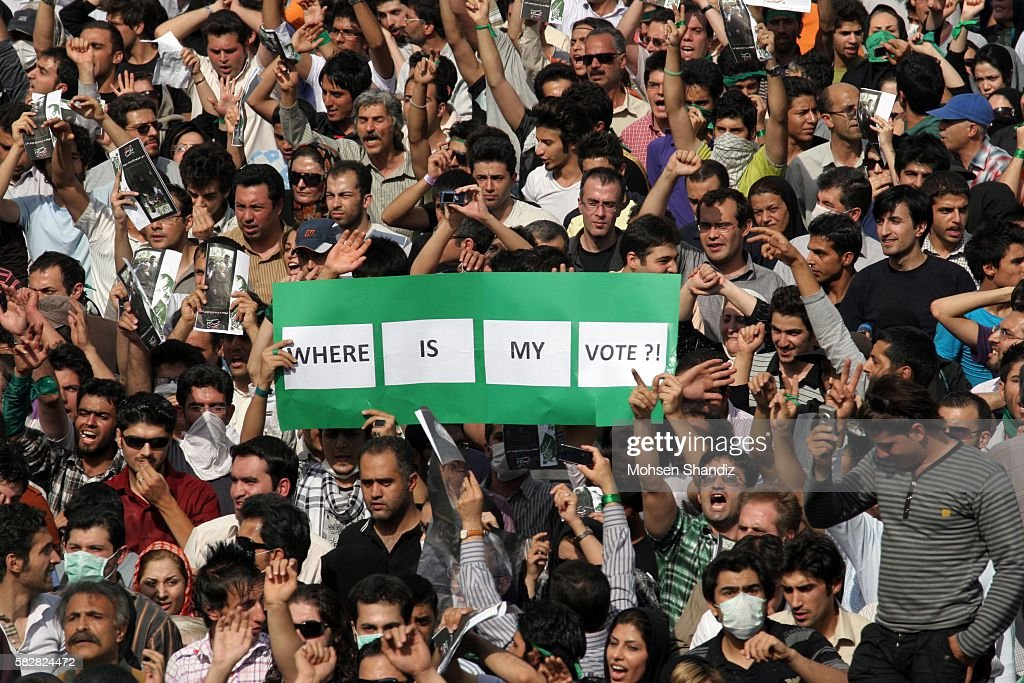 Supporters of former presidential candidate MirHossein Mousavi demonstrate in a rally in support of Mousavi near the Azadi Square