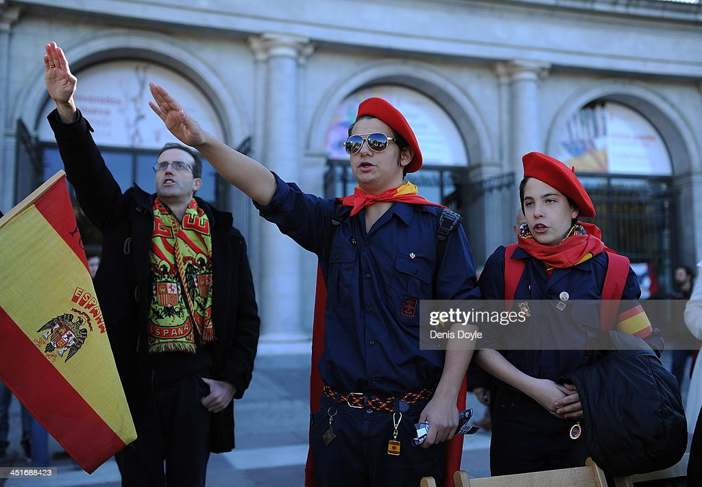 Supporters of former Spanish dictator General Francisco Franco give the fascist salute during a rally commemorating the 38th anniversary of Franco's death at Plaza de Oriente on November 24, 2013 in Madrid, Spain. Supporters of Franco gather every year on the Sunday closest to November 20, the anniversary of Franco's death in 1975 and Falange founder Jose Antonio Primo de Rivera's execution by the Republicans 42 years earlier. The doctrine of the Spanish fascist political party Falange that Rivera founded provided the ideological basis for Franco's regime.