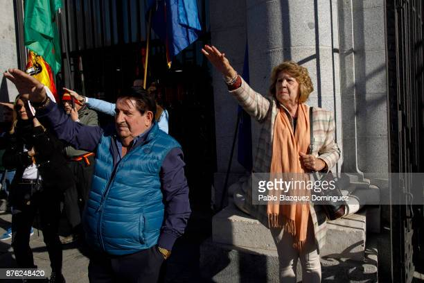 Supporters of Franco do fascist salutes during a rally commemorating the 42nd anniversary of Spain's former dictator General Francisco Franco's death...