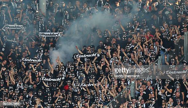 Supporters of Frankfurt cheer for their team during the DFB Cup match between 1 FC Magdeburg and Eintracht Frankfurt at MDCCArena on August 21 2016...
