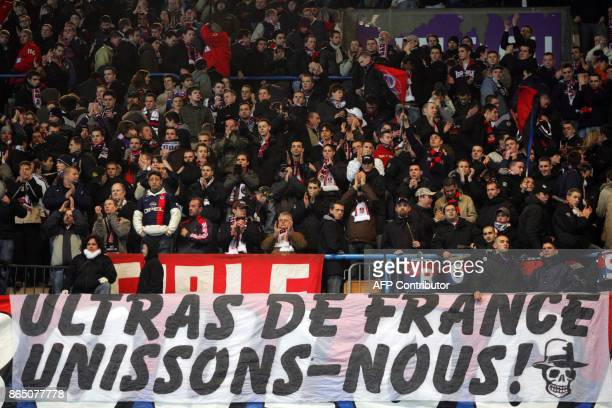 Supporters of French L1 football club ParisSaintGermain applaud in the Boulogne stands 27 January 2007 at Le Parc des Princes stadium in Paris during...