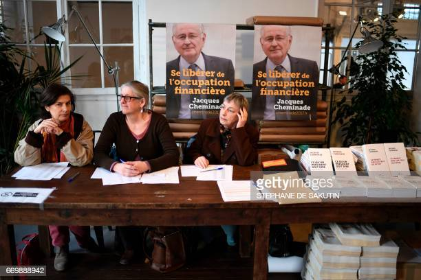 Supporters of French presidential election candidate for the Solidarite et Progres party Jacques Cheminade welcome the guests prior to a campaign...