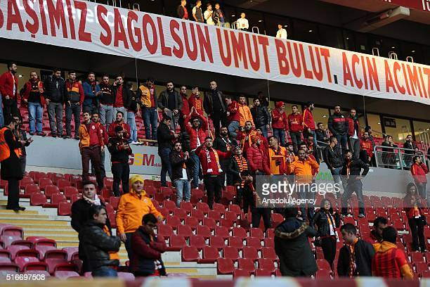 Supporters of Galatasaray leave the stands at the Turk Telekom Arena after the Turkish Spor Toto Super Lig match between Galatasaray and Fenerbahce...