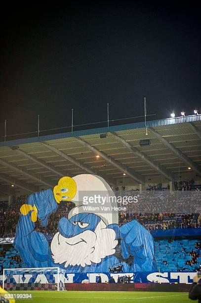 supporters of genk Tifo pictured during the Jupiler Pro League match between KRC Genk and STVV in Cristal Arena in Genk Belgium