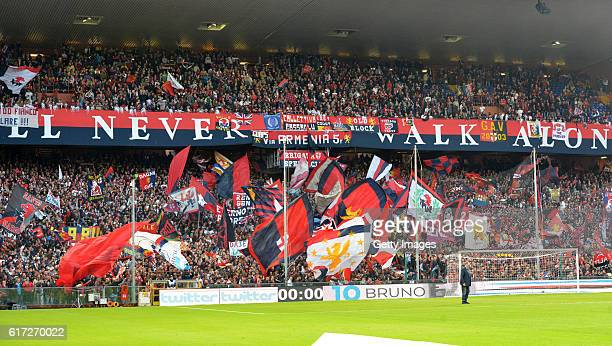 Supporters of Genoa during the Serie A match between UC Sampdoria and Genoa CFC at Stadio Luigi Ferraris on October 22 2016 in Genoa Italy