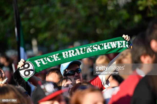 Supporters of German club Hannover 96 celebrate their promotion to 1 Bundesliga at Neues Rathaus on May 22 2017 in Hanover Germany Hannover 96...