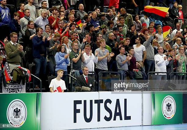 Supporters of Germany cheer during the Futsal International Friendly match between Germany and England at Inselparkhalle on October 30 2016 in...