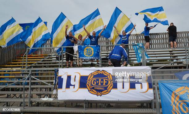 Supporters of GIF Sundsvall during the Allsvenskan match between Halmstad BK and GIF Sundsvall at Orjans Vall on July 22 2017 in Halmstad Sweden