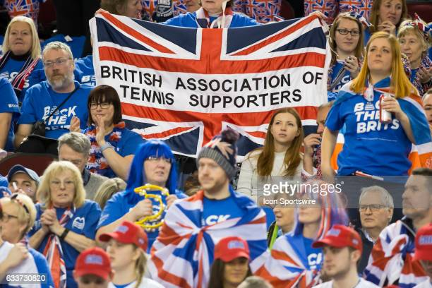 Supporters of Great Britain cheer for the Denis Shapovalov of Canada v Daniel Evans of Great Britain in the BNP Paribas Davis Cup Tennis Canada v...
