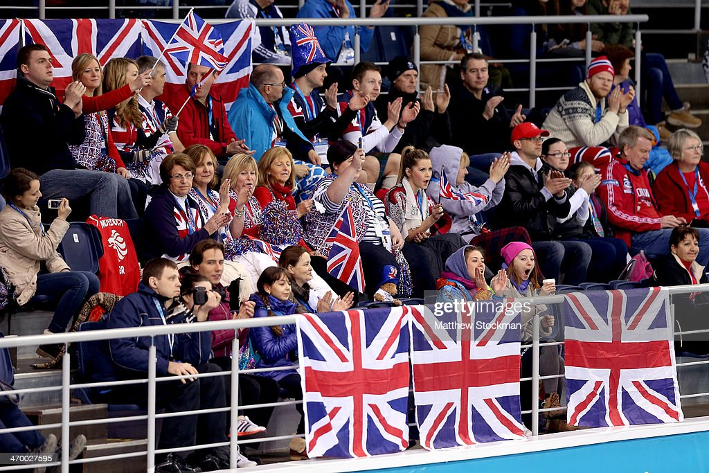 Supporters of Great Britain watch as their team plays Norway during the Curling at Ice Cube Curling Center on day 11 of the 2014 Sochi Winter Olympics on February 18, 2014 in Sochi, Russia.