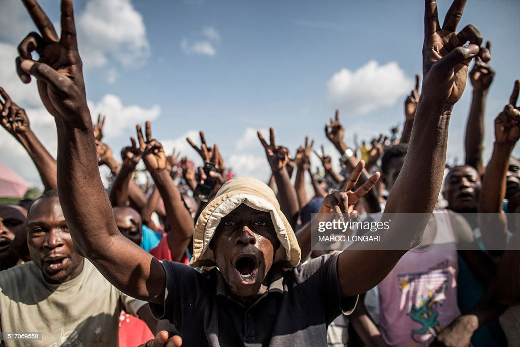 Supporters of Guy Brice Parfait Kolelas the Interim President of the Congolese Movement for Democracy and Integral Development celebrate the second...