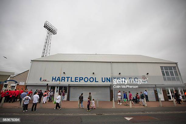 Supporters of Hartlepool United and Middlesbrough making their way past the main entrance at the Victoria Ground Hartlepool before the preseason...