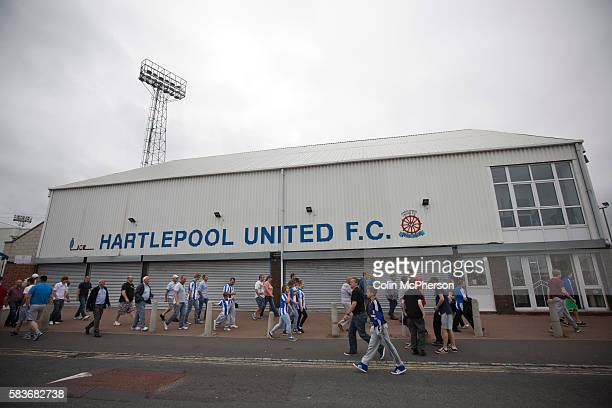 Supporters of Hartlepool United and Middlesbrough making their way past the main entrance at the Victoria Ground Hartlepool after the preseason...