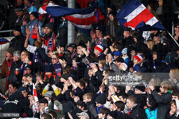 Supporters of Heidenheim are seen during the Third League match between 1FC Heidenheim and Carl Zeiss Jena at the GAGFAH Arena on December 18 2010 in...