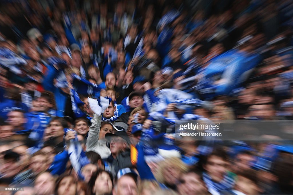 Supporters of Hoffenheim celebrate during the Bundesliga match between 1899 Hoffenheim and Borussia Moenchengladbach at Rhein-Neckar Arena on October 17, 2010 in Sinsheim, Germany.