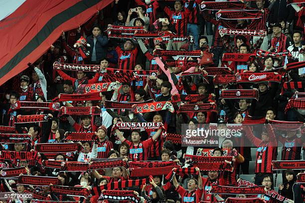 Supporters of Hokkaido Consadole Sapporo hold mufflers prior to the JLeague second division match between Tokyo Verdy and Hokkaido Consadole Sapporo...