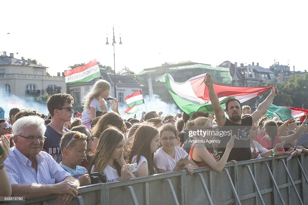 Supporters of Hungary celebrate the return of national team of Hungary from Euro 2016 in Budapest, Hungary on June 27, 2016.