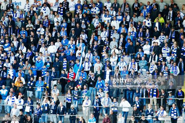 Supporters of IFK Norrkoping during the Allsvenskan match between IFK Norrkoping and Djurgardens IF on August 13 2017 in Norrkoping Sweden