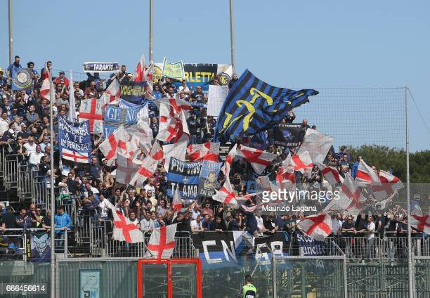 Supporters of Inter during the Serie A match between FC Crotone and FC Internazionale at Stadio Comunale Ezio Scida on April 9 2017 in Crotone Italy