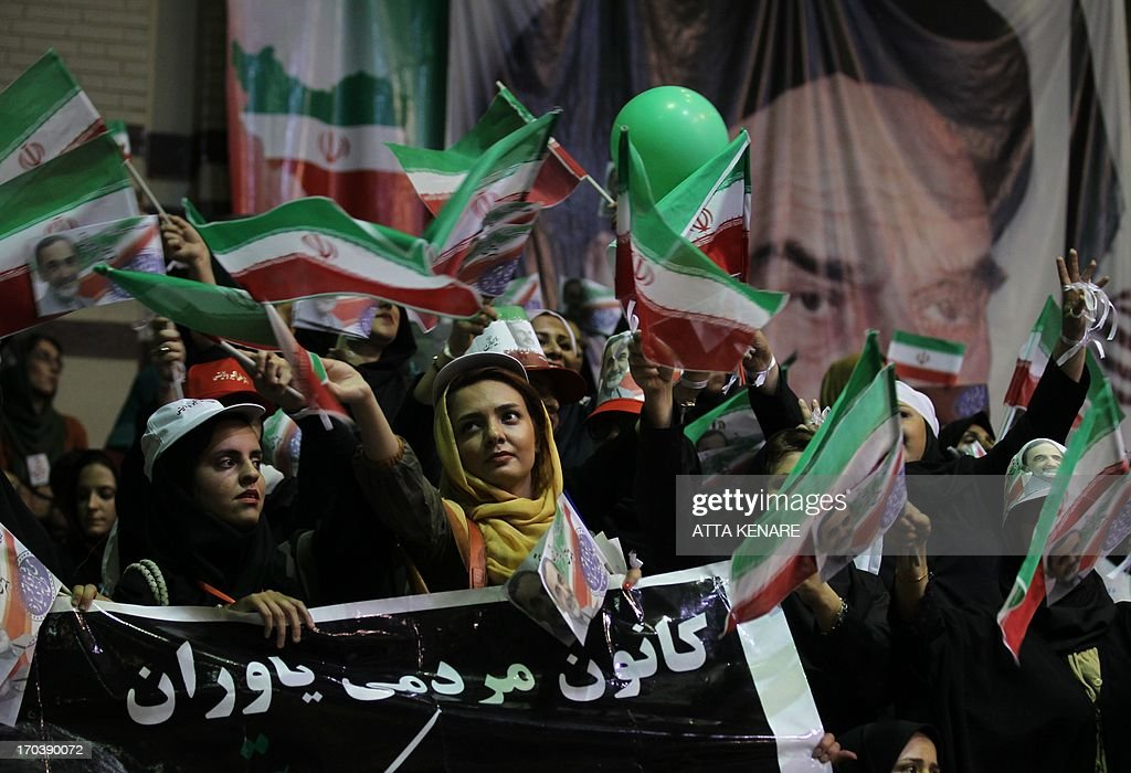 Supporters of Iranian advisor to the supreme leader Ayatollah Ali Khamenei and hopeful conservative presidential candidate, Ali Akbar Velayati attend his campaign rally in Tehran, on June 12, 2013.