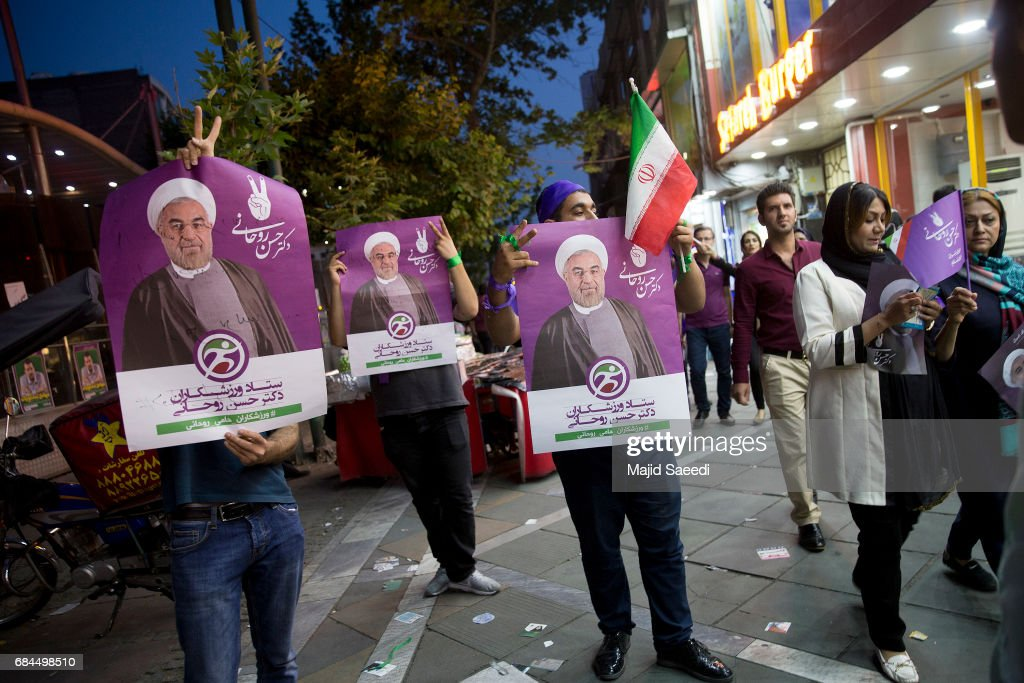 Supporters of Iranian President Hassan Rouhani campaign ahead of the May 19 presidential election, on May 17, 2017 in Tehran, Iran. President Hassan Rouhani, a moderate, is seeking re-election in a vote that will largely serve as a referendum on his outreach to the West, which culminated in the 2015 nuclear deal with world powers.