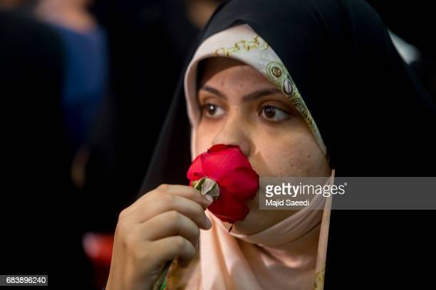Supporters of Iranian presidential candidate Ebrahim Raisi attend a campaign rally at Imam Khomeini Mosque in the capital Tehran on May 16 2017 in...