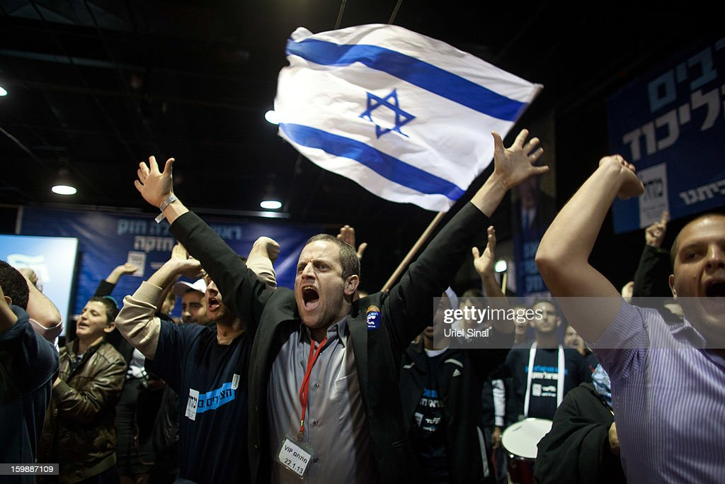 Supporters of Israeli Prime Minister Benjamin Netanyahu wait for election results at his election campaign headquarters on January 22, 2013 in Tel Aviv, Israel. The latest opinion polls suggest that current Prime Minister Benjamin Netanyahu will return to office, with Israel seeing the highest turnout of voters since 1999.