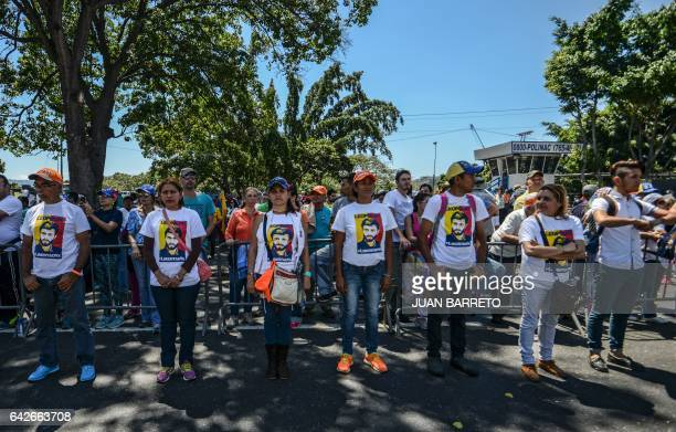 Supporters of jailed Venezuelan opposition leader Leopoldo Lopez hold a demonstration on the third anniversary of his arrest on the main highway in...