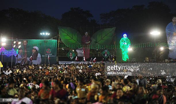 Supporters of Jayaram Jayalalitha leader of the Anna Dravida Munnetra Kazhagam state political party attend her campaign rally in Chennai on April 9...
