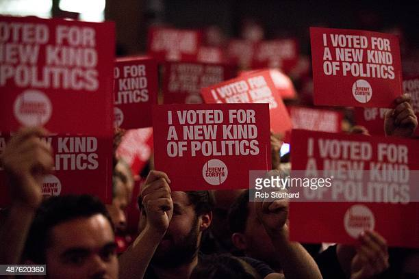 Supporters of Jeremy Corbyn MP for Islington North and candidate in the Labour Party leadership election listen to speaches at Rock Tower on...