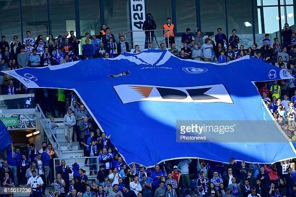 Supporters of KAA Gent display their colours during the Jupiler Pro League match between KAA Gent and SV Zulte Waregem in the Ghelamco Arena stadium...