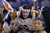 Supporters of Keiko Fujimori the presidential candidate of the Fuerza Popular party react as news starts to arrive that the polls have turned against...