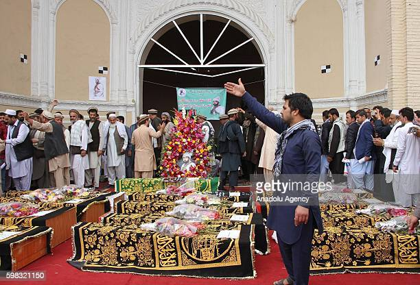 Supporters of King Habibullah Kalakani attend a funeral ceremony in Kabul Afghanistan on September 01 2016 Vice President Abdul Rashid Dostum's...
