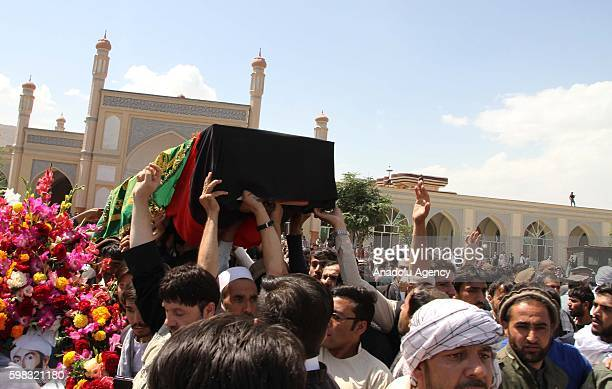 Supporters of King Habibullah Kalakani carry a coffin during a funeral ceremony in Kabul Afghanistan on September 01 2016 Vice President Abdul Rashid...