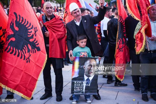 Supporters of Kosovo's former Prime Minister Ramush Haradinaj celebrate his arrival in Pristina on April 27 2017 A French court on Thursday rejected...