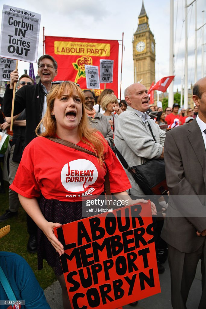 Supporters of Labour leader Jeremy Corbyn shout during Momentum's 'Keep Corbyn' rally outside the Houses of Parliament on June 27, 2016 in London, England. The Labour Leader has seen mass resignations from the Shadow Cabinet in the wake of the UK Vote for Brexit. His support group, Momentum, have recorded more than 1000 new members in the same period.