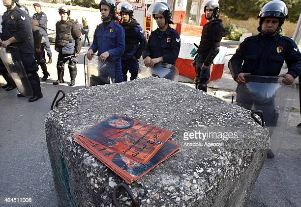 Supporters of Lebanese Georges Ibrahim Abdullah who has been jailed in France chants slogans during a protest in front the French embassy demanding...