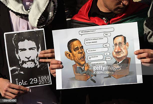 Supporters of Lebanese militant Georges Ibrahim Abdallah show placards featuring US and French presidents during a protest outside the French embassy...