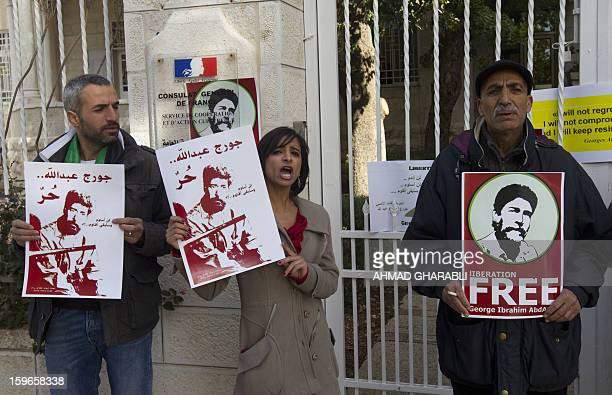 Supporters of Lebanese proPalestinian militant Georges Ibrahim Abdallah take part in a demonstration in front of the French Consulate in East...