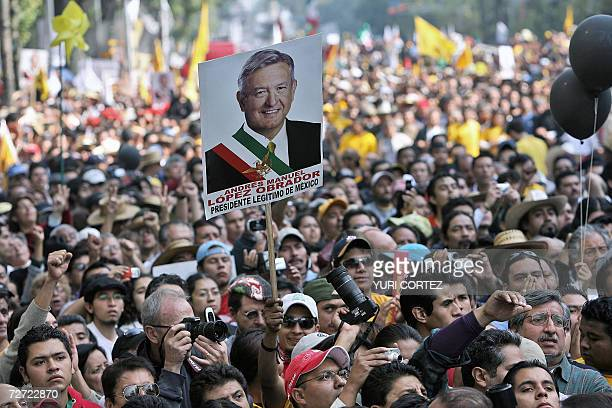 Supporters of leftist Manuel Lopez Obrador from the Democratic Revolution Party take part in a protest against the inauguration of Mexican new...