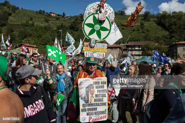 Supporters of Lega Nord attend the annual convention of the party on September 17 2017 in Pontida some 50 km northeast of Milan Italy The meeting...