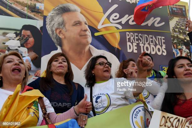 Supporters of Lenin Moreno candidate of the ruling PAIS Alliance Party in upcoming elections in Ecuador pictured during the closing event of his...
