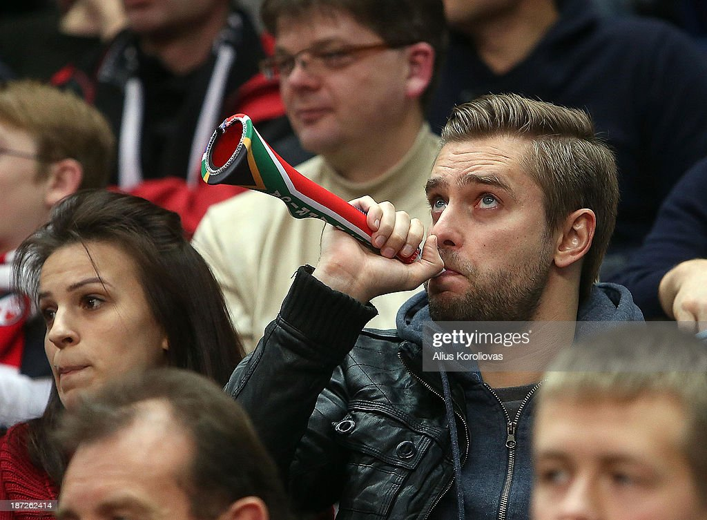 Supporters of Lietuvos Rytas Vilnius in action during the 2013-2014 Turkish Airlines Euroleague Regular Season Date 4 game between Lietuvos Rytas Vilnius v Maccabi Electra Tel Aviv at Siemens Arena on November 7, 2013 in Vilnius, Lithuania.