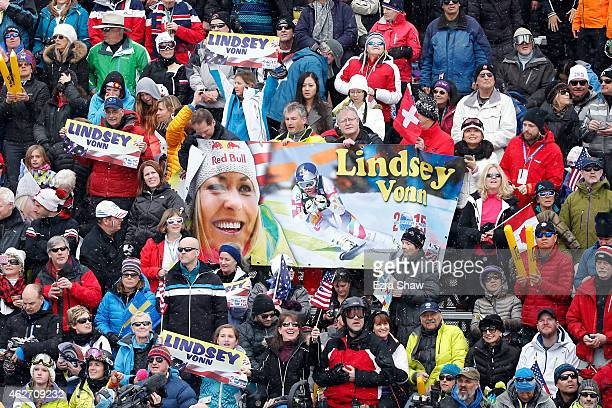 Supporters of Lindsey Vonn of the United States hold up a banner near finish line of the Ladies' SuperG in Red Tail Stadium on Day 2 of the 2015 FIS...