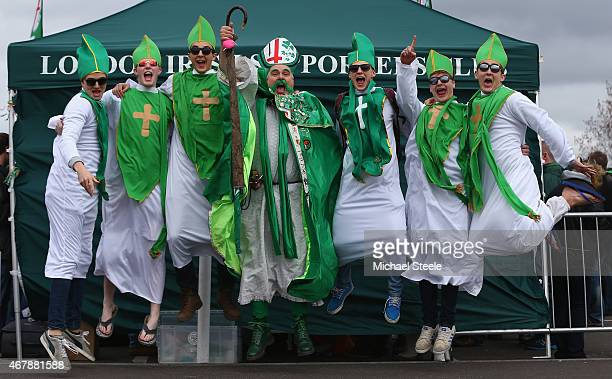 Supporters of London Irish leap to the occasion at the St Patrick's Party ahead of the Aviva Premiership match between London Irish and Newcastle...