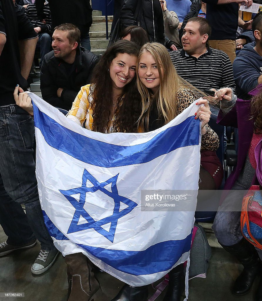Supporters of Maccabi Electra Tel Aviv in action during the 2013-2014 Turkish Airlines Euroleague Regular Season Date 4 game between Lietuvos Rytas Vilnius v Maccabi Electra Tel Aviv at Siemens Arena on November 7, 2013 in Vilnius, Lithuania.