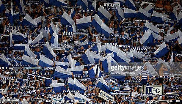 Supporters of Magdeburg cheer during the Third League match between 1 FC Magdeburg and FC Rot Weiss Erfurt at MDCCArena on July 24 2015 in Magdeburg...