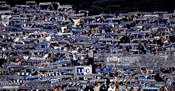 Supporters of Magdeburg cheer during the Third League match between 1 FC Magdeburg and Energie Cottbus at MDCCArena on September 26 2015 in Magdeburg...